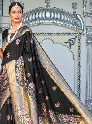 Black Silk Festival Designer Saree