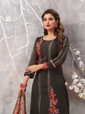 Black Silk Festival Designer Straight Suit