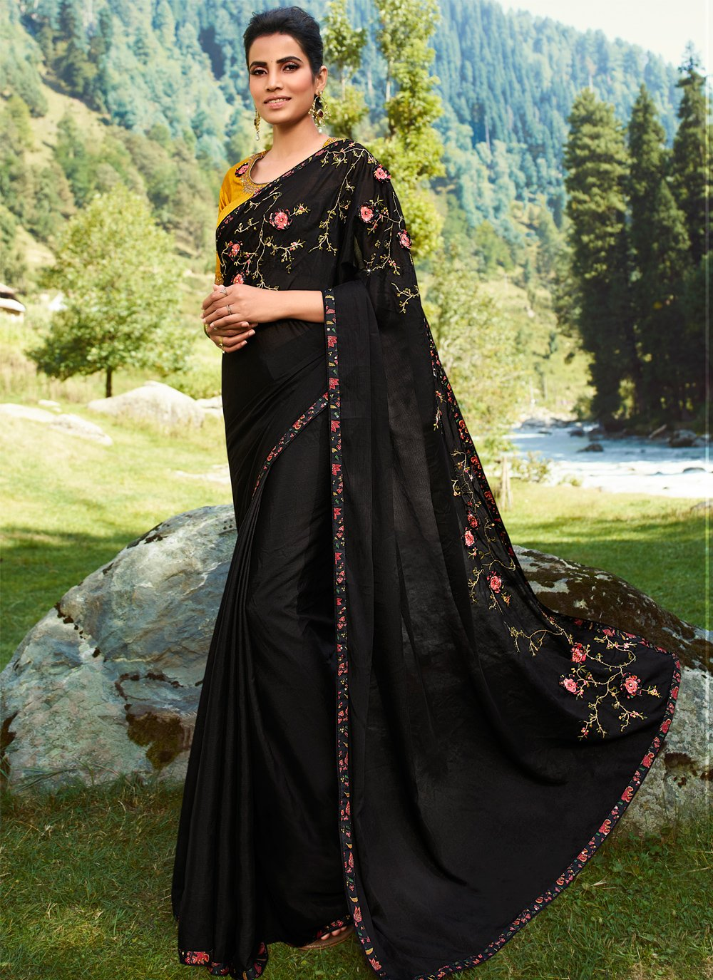 Black Silk Party Contemporary Saree