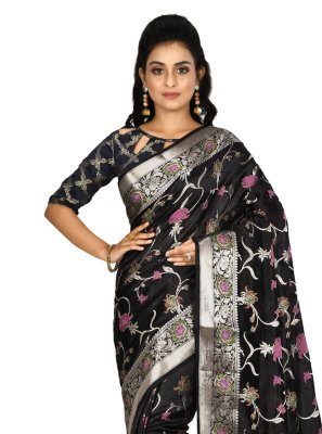 Black Weaving Banarasi Silk Designer Saree