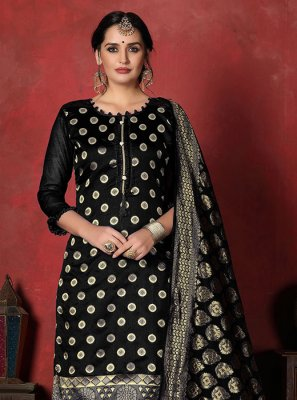 Black Weaving Banarasi Silk Designer Suit