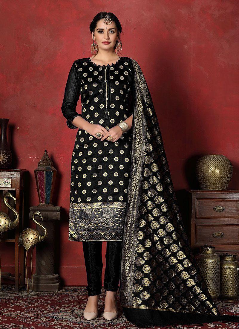 Black Weaving Banarasi Silk Designer Suit