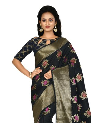 Black Weaving Contemporary Saree