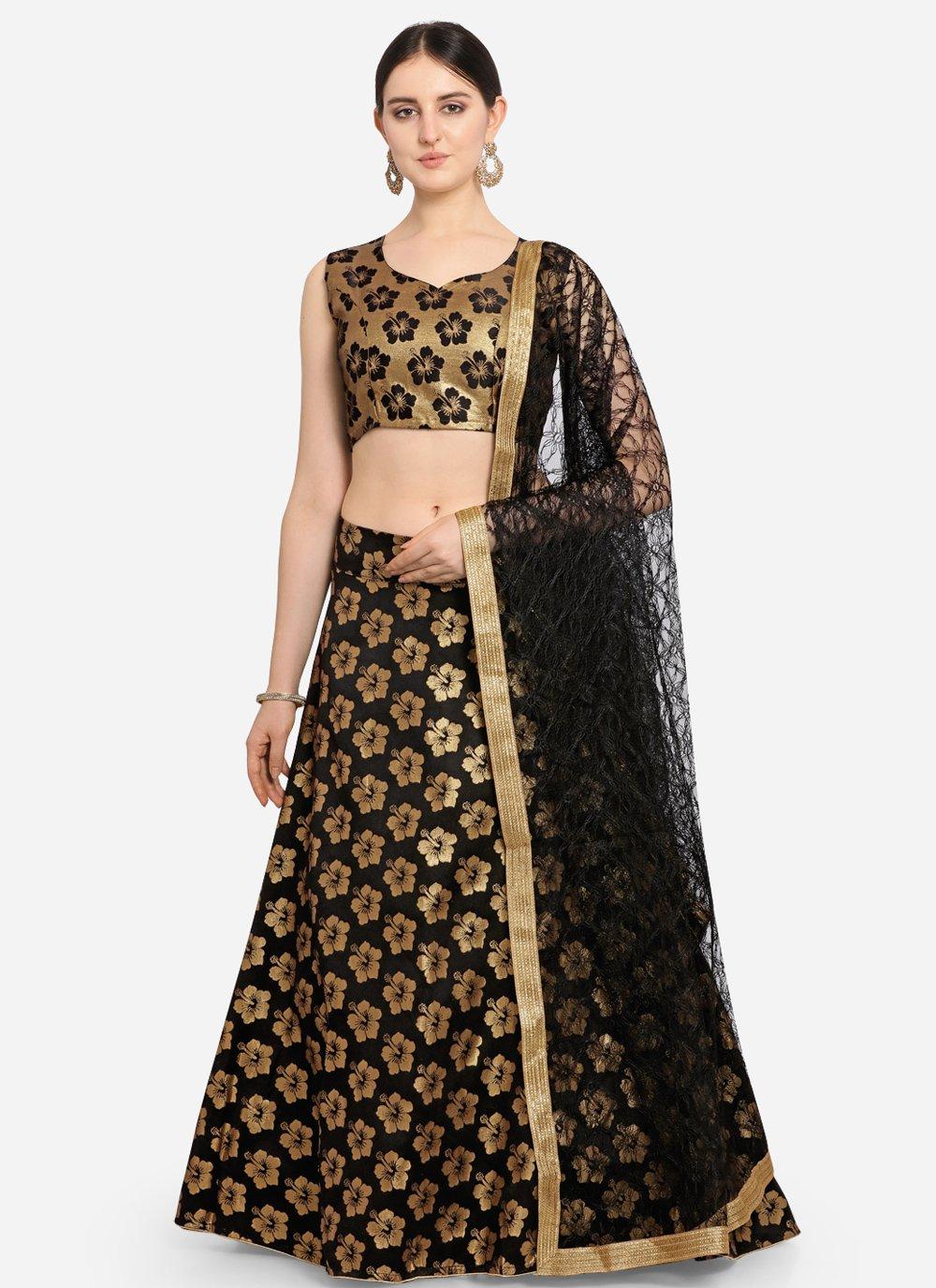 Black Weaving Jacquard Lehenga Choli