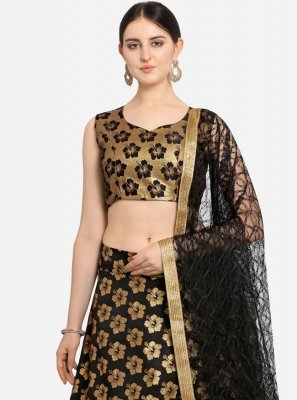 Black Weaving Jacquard Lehenga Choli