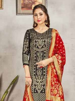 Black Weaving Party Trendy Salwar Suit
