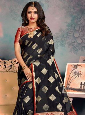 Black Weaving Silk Classic Saree