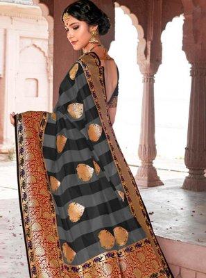Black Weaving Silk Designer Saree