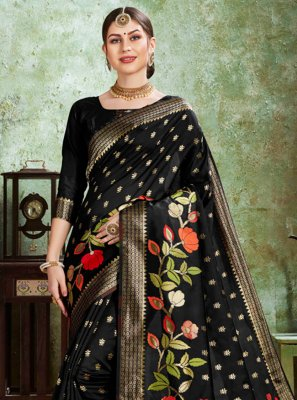 Black Weaving Silk Trendy Saree