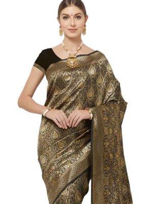 Black Woven Designer Saree
