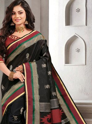 Black Woven Handloom silk Trendy Saree