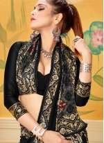 Black Woven Mehndi Trendy Saree