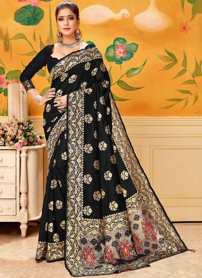 Black Woven Mehndi Trendy Saree