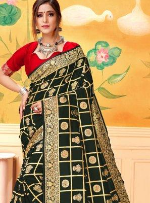 Black Woven Silk Saree