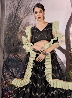 Black Zari Party A Line Lehenga Choli