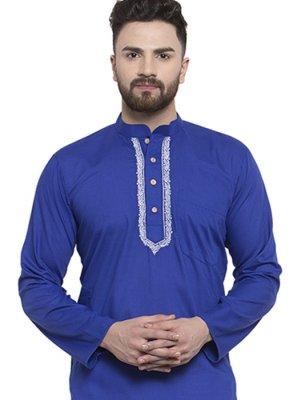 Blended Cotton Blue Kurta