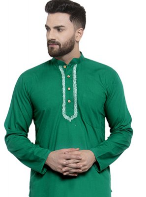Blended Cotton Green Plain Kurta