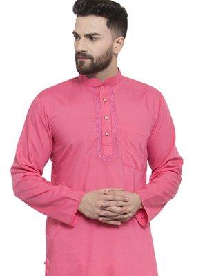 Blended Cotton Kurta in Pink