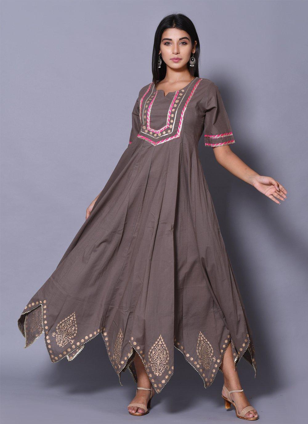 Block Print Cotton Designer Gown