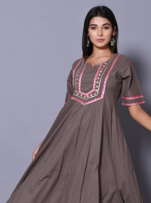 Block Print Cotton Designer Gown