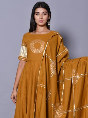 Block Print Cotton Salwar Suit in Mustard