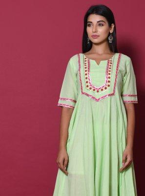 Block Print Cotton Sea Green Gown