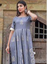 Block Print Jamawar Silk Designer Gown in Grey