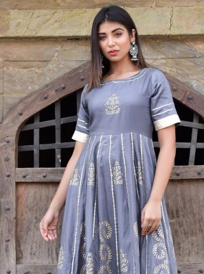 Block Print Jamawar Silk Designer Gown in Grey