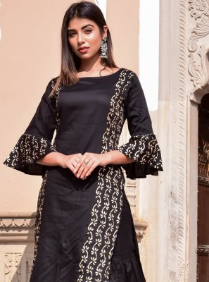 Block Print Jamawar Silk Designer Kurti in Black
