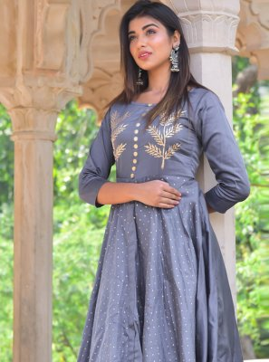 Block Print Jamawar Silk Designer Kurti in Grey