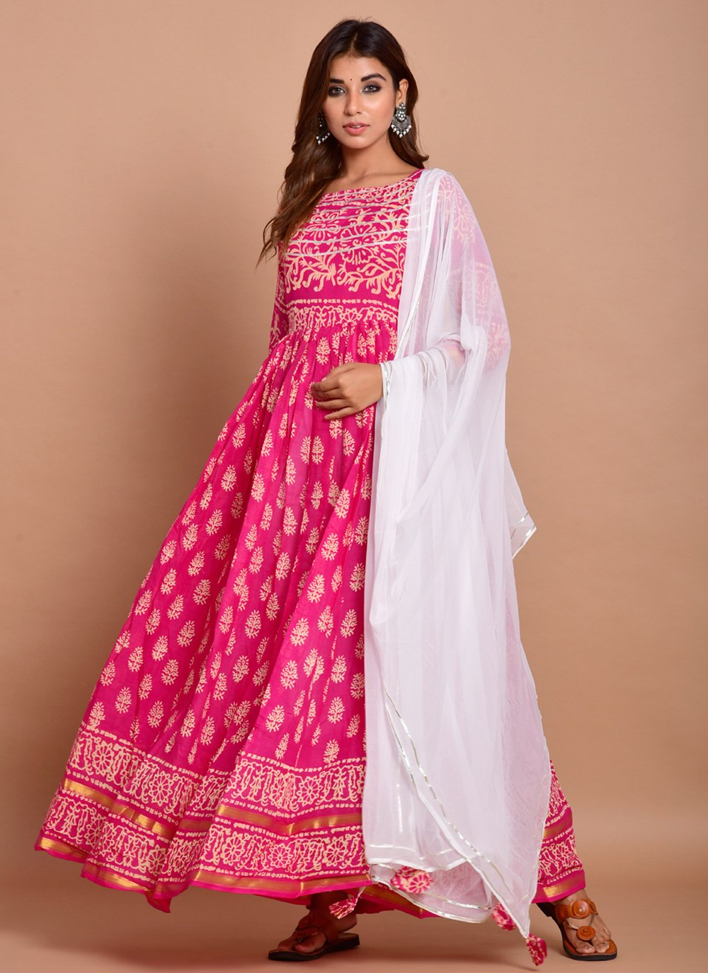 Block Print Pink Cotton Readymade Designer Gown