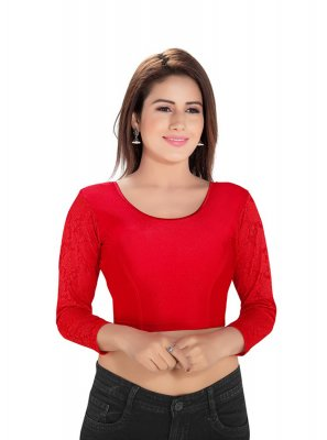 Blouse Plain Cotton Lycra in Red