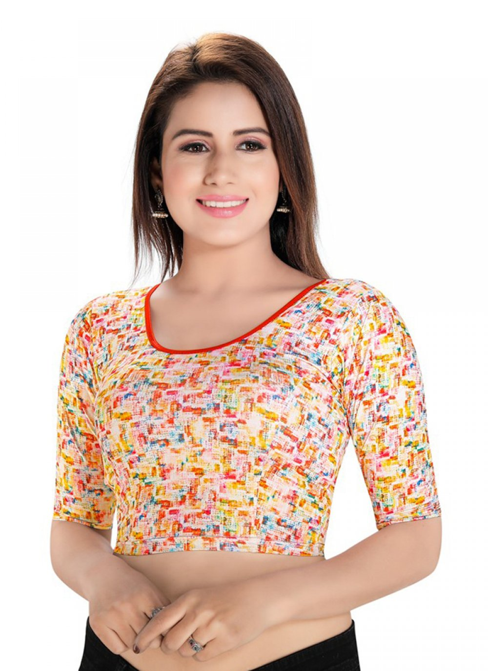 Blouse Printed Lycra in Multi Colour
