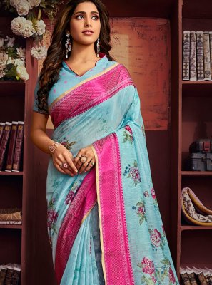 Blue Abstract Print Cotton Printed Saree
