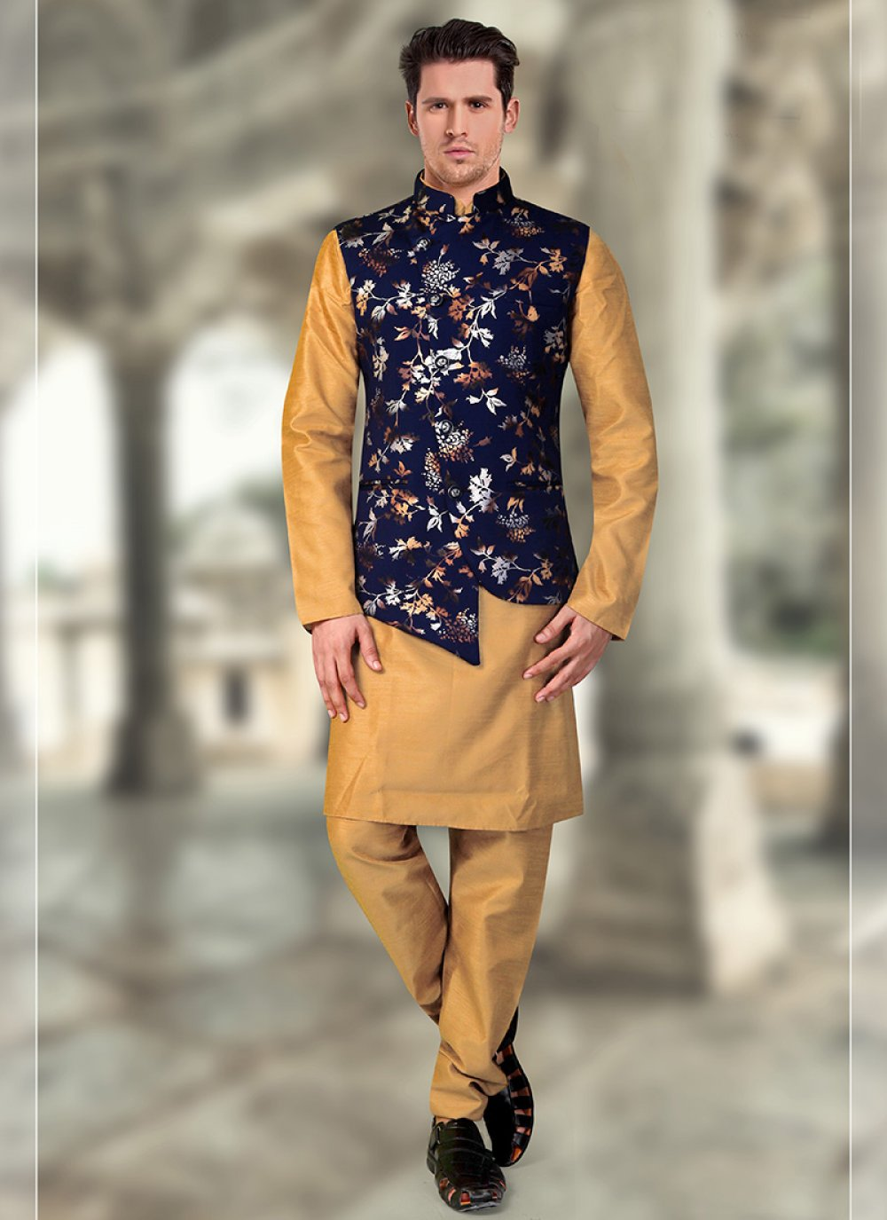Blue and Gold Art Silk Sangeet Kurta Payjama With Jacket