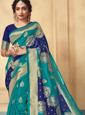 Blue and Green Art Silk Designer Traditional Saree