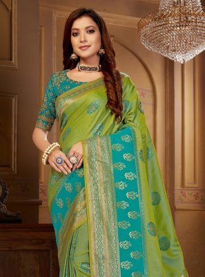 Blue and Green Jacquard Silk Weaving Designer Contemporary Saree