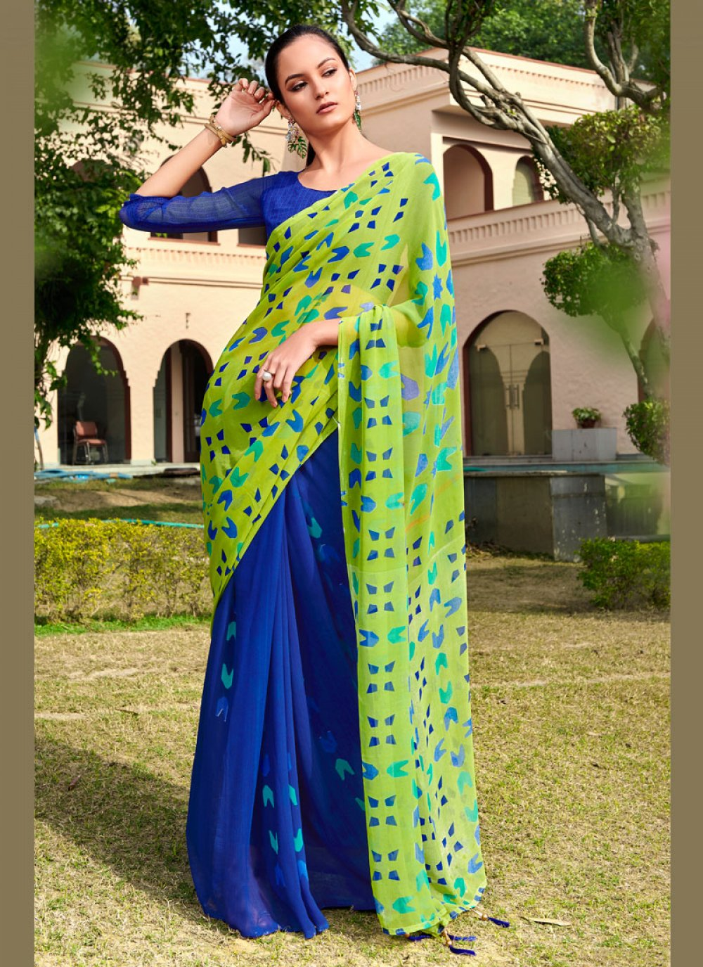Blue and Green Printed Festival Printed Saree