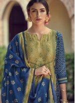 Blue and Green Resham Designer Salwar Suit