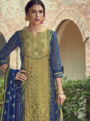 Blue and Green Resham Designer Salwar Suit