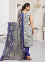 Blue and Grey Festival Faux Crepe Straight Salwar Suit