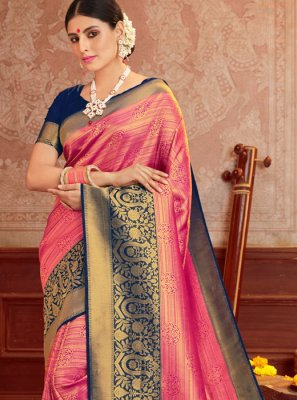 Blue and Hot Pink Silk Silk Saree
