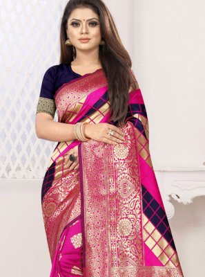 Blue and Hot Pink Weaving Art Silk Designer Half N Half Saree