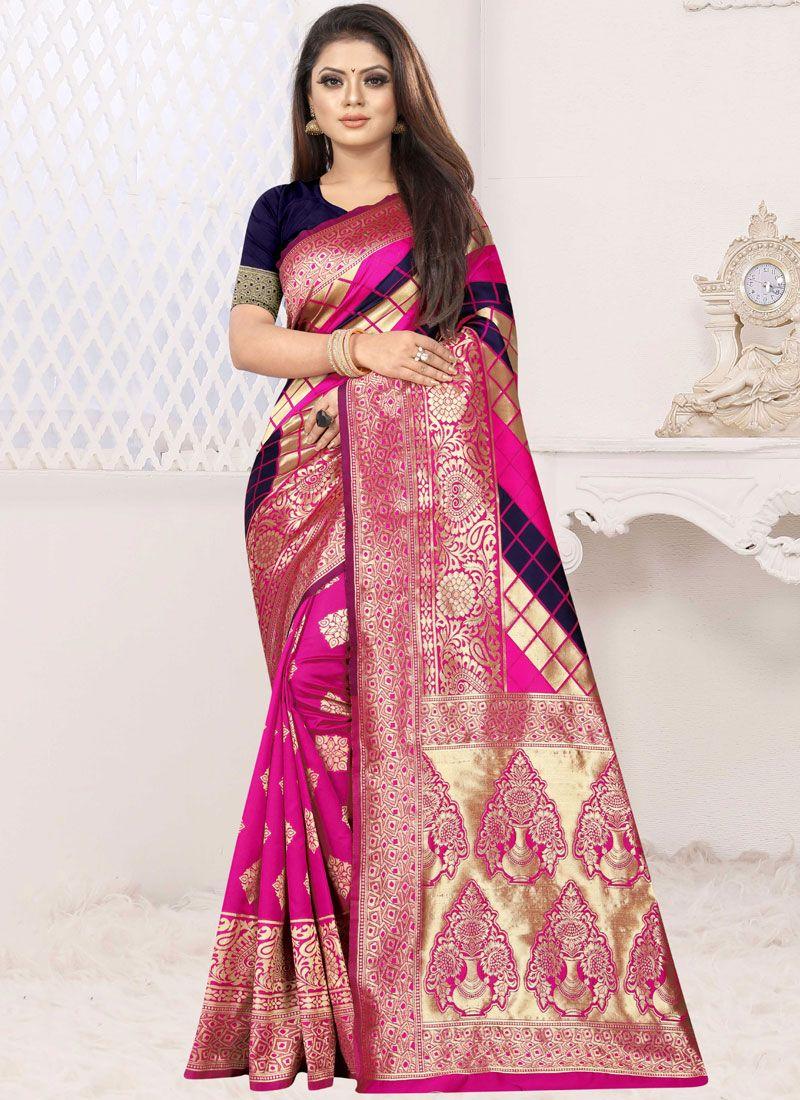 Blue and Hot Pink Weaving Art Silk Designer Half N Half Saree