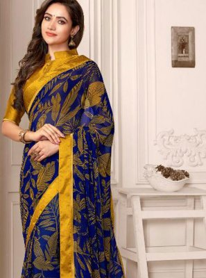 Blue and Mustard Color Saree