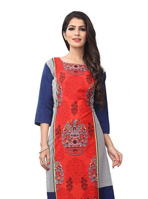 Blue and Orange Festival Casual Kurti