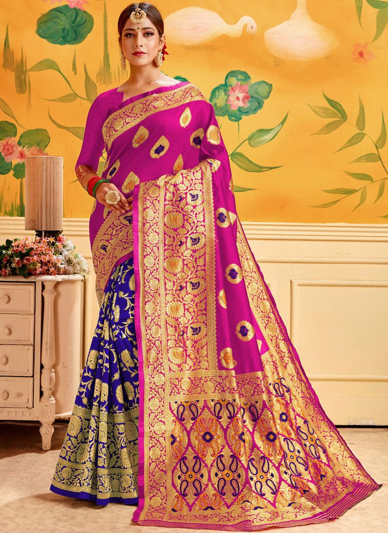 Blue and Pink Woven Cotton Casual Saree