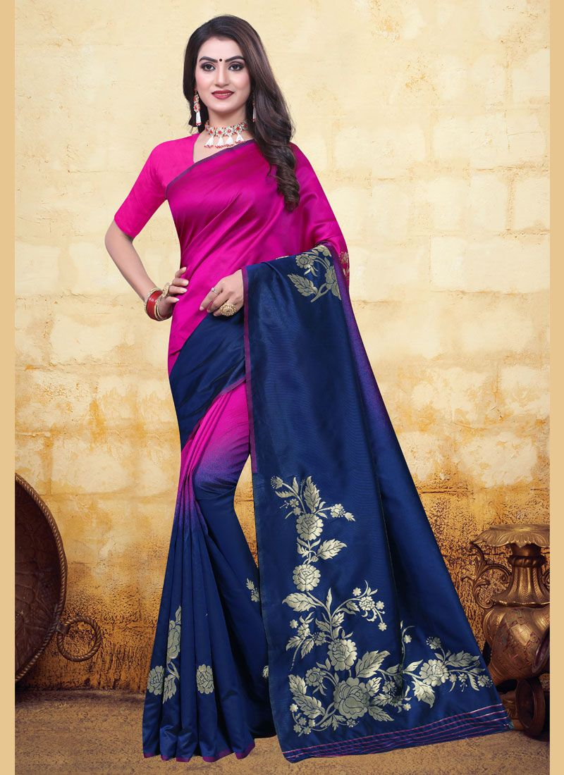 Blue and Pink Woven Designer Half N Half Saree