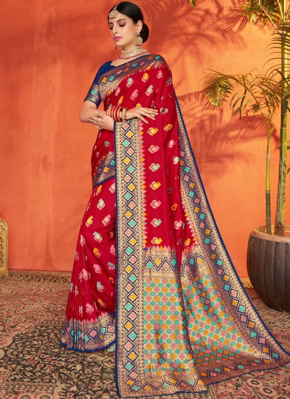Blue and Red Ceremonial Silk Traditional Saree