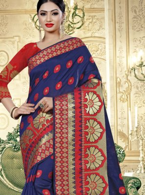 Blue and Red Festival Cotton Silk Classic Designer Saree